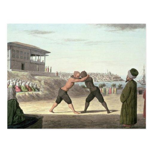 Combate de lucha, Constantinopla (w/c en el papel) Tarjetas Postales