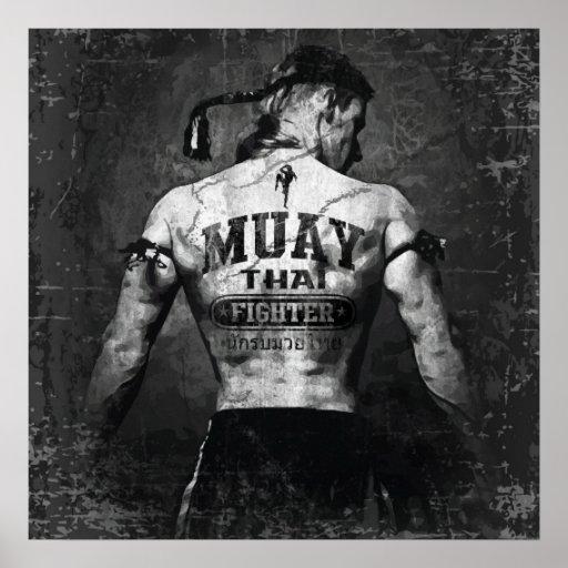 Combatiente tailandés de Muay del vintage Impresiones