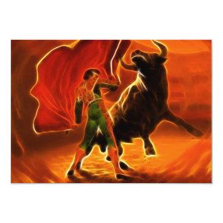 Combatiente y EL Toro de Bull Invitación 12,7 X 17,8 Cm