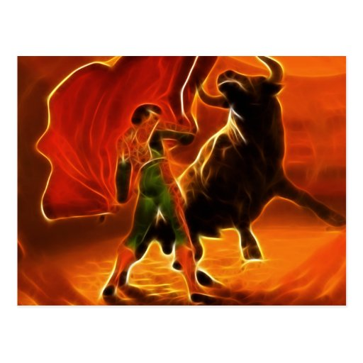 Combatiente y EL Toro de Bull Tarjeta Postal