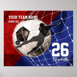 Combine el balón de fútbol de los chicas azules póster