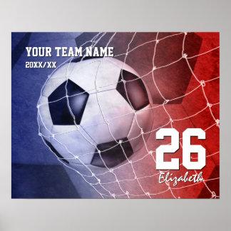 Combine la meta del balón de fútbol de los chicas póster