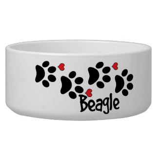 Comedero Amo mis corazones del perrito del perro del beagle