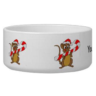 Comedero Ratón con un bastón de caramelo del navidad