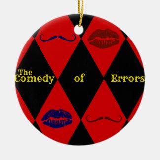 Comedia del ornamento de los errores adorno navideño redondo de cerámica