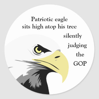 Comentario de Eagle calvo en política moderna Pegatina Redonda