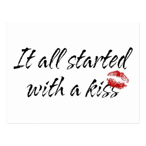 Comenzó todo con una maternidad del beso tarjeta postal