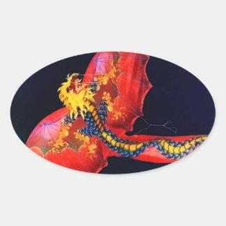 Cometa roja del dragón pegatina