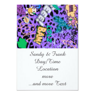 cómico enrrollado por todas partes, púrpura invitación 12,7 x 17,8 cm