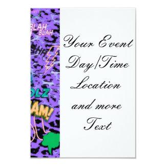 cómico enrrollado por todas partes, púrpura invitación 8,9 x 12,7 cm