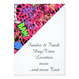 cómico enrrollado por todas partes, rosado invitación 12,7 x 17,8 cm