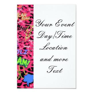 cómico enrrollado por todas partes, rosado invitación 8,9 x 12,7 cm