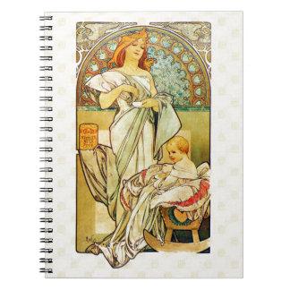 Comida 1898 de Alfons Mucha para los niños Cuaderno
