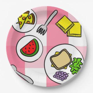 Comida campestre del verano plato de papel