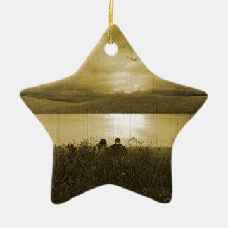 Comida campestre perdida de la puesta del sol ornamento para arbol de navidad