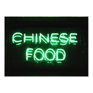 COMIDA CHINA - señal de neón verde Invitación 12,7 X 17,8 Cm