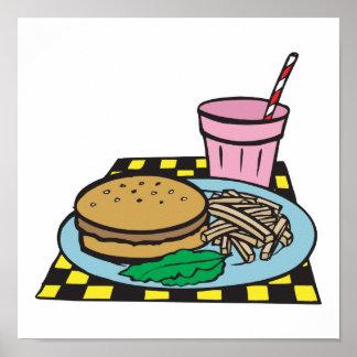 comida de alimentos de preparación rápida retra de póster