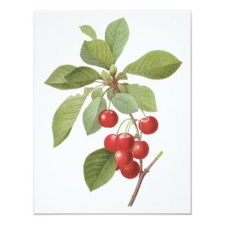 Comida de la cereza de la fruta del vintage, invitación 10,8 x 13,9 cm