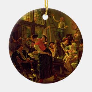 Comida de la familia (aceite en lona) adorno redondo de cerámica