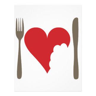 Comida del amor, corazón del amor tarjetas publicitarias