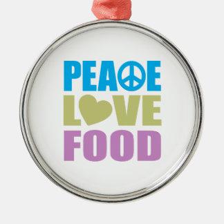 Comida del amor de la paz adorno redondo plateado