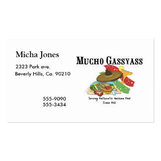 Comida del mexicano de Mucho Gassyass Tarjetas De Visita
