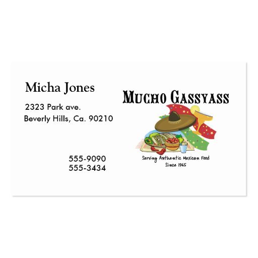 Comida del mexicano de Mucho Gassyass Plantilla De Tarjeta Personal
