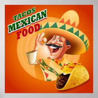 Comida del mexicano del Tacos Póster