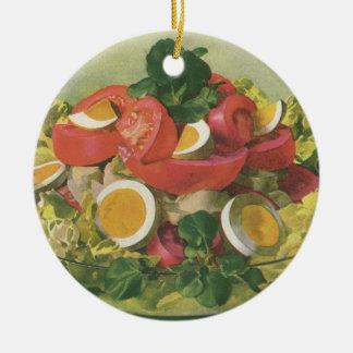 Comida del vintage, ensalada verde mezclada adorno redondo de cerámica