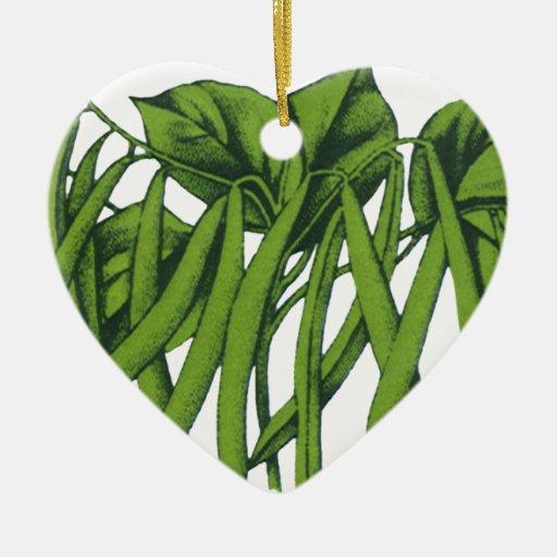 Comida del vintage, verduras, habas verdes orgánic adorno de navidad