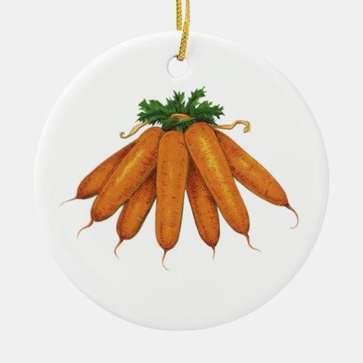 Comida del vintage, verduras; Manojo de zanahorias Adorno De Navidad