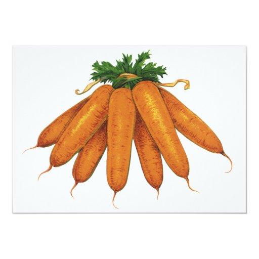 Comida del vintage, verduras; Manojo de zanahorias Invitación 12,7 X 17,8 Cm