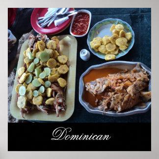 Comida dominicana en la playa póster