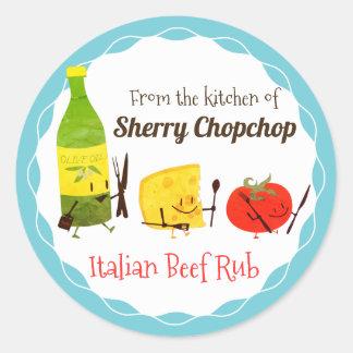 Comida italiana retra de la cocina del pegatina