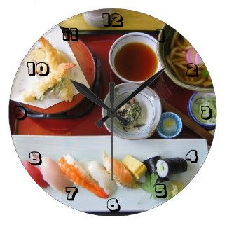 Comida japonesa reloj redondo grande