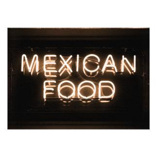 COMIDA MEXICANA - señal de neón amarilla