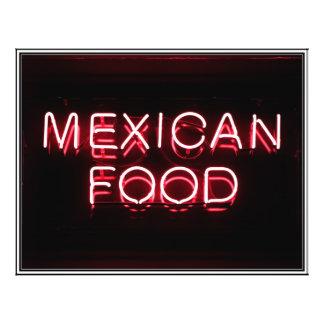 COMIDA MEXICANA - señal de neón roja Folleto 21,6 X 28 Cm