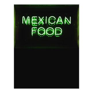 COMIDA MEXICANA - señal de neón verde Folleto 21,6 X 28 Cm