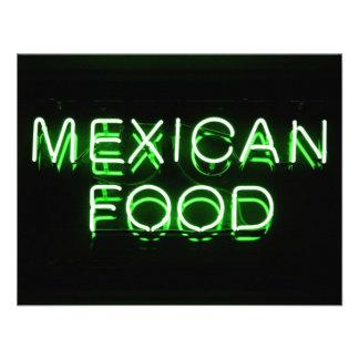 COMIDA MEXICANA - señal de neón verde Invitacion Personalizada