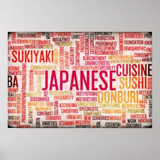 Comida y fondo japoneses del menú de la cocina póster