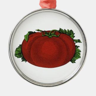 Comidas del vintage, frutas, verduras, tomate adorno redondo plateado