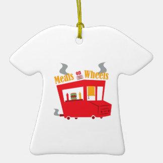 Comidas en las ruedas adorno de cerámica en forma de camiseta