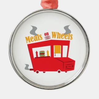 Comidas en las ruedas adorno redondo plateado