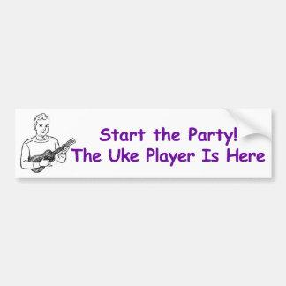 ¡Comience el fiesta! El jugador de Uke está aquí Pegatina Para Coche