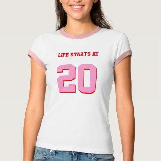 Comienzo de la vida en el vigésimo cumpleaños camiseta