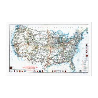 Comienzo del siglo XX histórico del mapa de la Impresión En Lienzo
