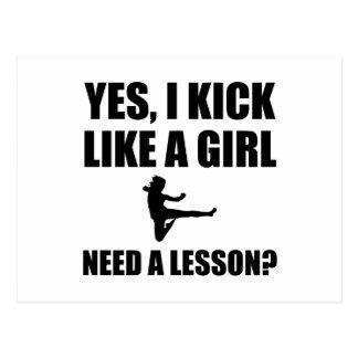 Como artes marciales de un chica postal