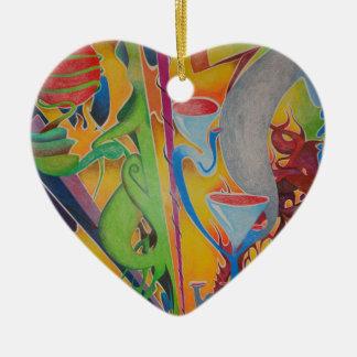 Como el mundo da vuelta adorno de cerámica en forma de corazón