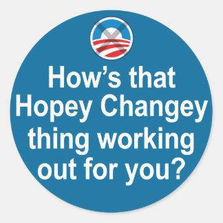 Cómo está esa cosa de Hopey Changey que se Pegatina Redonda
