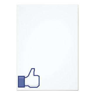 Como la mano - pulgares del FB para arriba Invitación 12,7 X 17,8 Cm